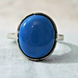 Sterling Silver Blue Stone Ring Solitaire